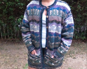 Icelandic,sweater coat ,XL,100% wool,lined,button up,cardigan