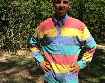 Men's cotton shirt, 1980s, blue yellow green, large