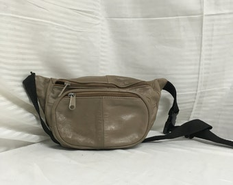 Leather fanny pack, tan, taupe