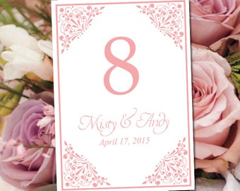 """Wedding Table Number Template - Blush Table Number - Wedding """"Madison"""" Printable Table Card - Instant Download Table Number Card"""