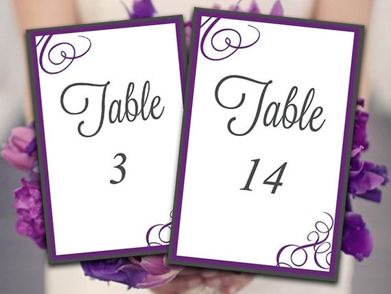 Printable wedding table number template by paintthedaydesigns for Table numbers for wedding reception templates