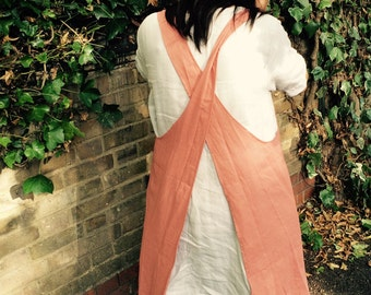 Linen japanese style crossover apron smock in red brick