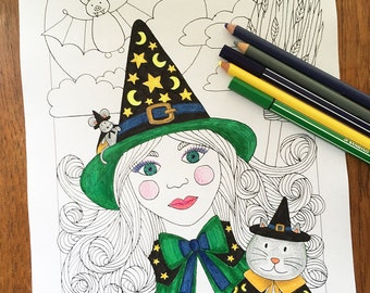 Halloween Coloring Pages, Halloween Coloring Sheet, Halloween Coloring Book, Halloween Printable, Halloween Witch, Halloween Card, Cat
