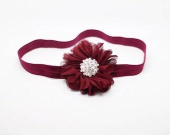 Luciana- Burgundy Headband with rhinestone, Maroon Headband, burgundy Flower Girl Headband, Burgundy Birthday Headband, flower headband