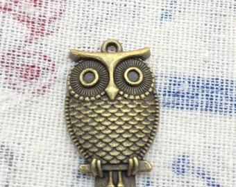 SALE 20 PCS 18x28mm Antique Bronze Lovely The little owl Charm Pendant owl Antique Bronze