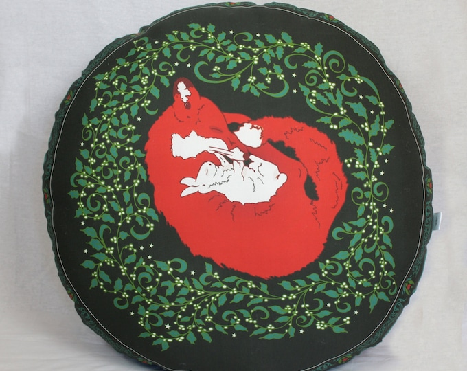 Christmas Green Fox and Bunny floor pillow