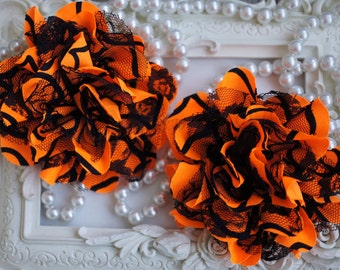 "Orange and Black Stripes 3.75"" Fabric flowers - Lace Flowers Halloween lace flower - chiffon flower - lace rose - Wholesale DIY Supplies"