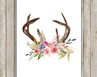 8x10 Rustic Deer Antlers Printable Art, Floral Poster, Boho Animal Print,  Floral Art Poster, South Western Wall Art, Instant Download