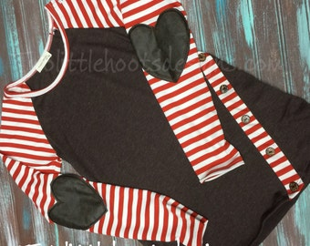 Long Sleeve Top with Heart Elbow Patch