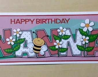 Nanna Birthday Card * Handmade Card * Nanna Card * Birthday Card * Card For Nanna * Happy Birthday * Happy Birthday Card * Greeting Card *