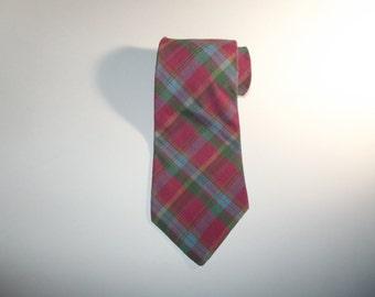 All Cotton Plaid Madras Necktie / Made in USA / OAKTON Tie