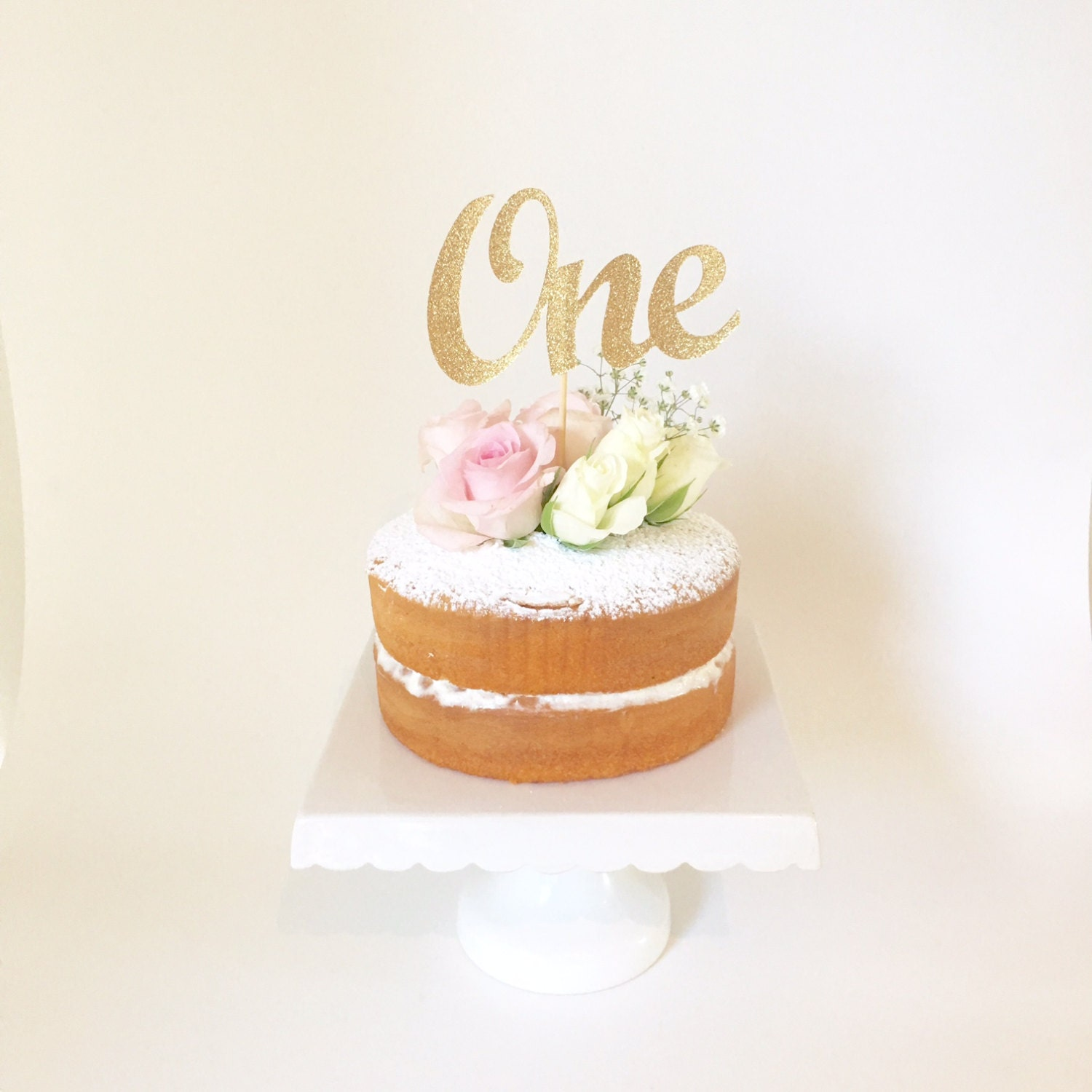 ONE Cake Topper Gold Glitter One Cake Topper 1st Birthday