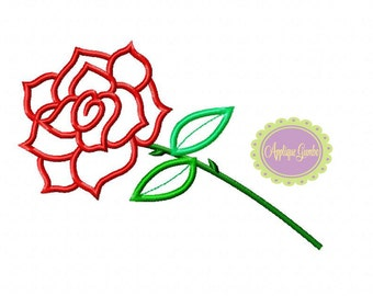Single Fabric Rose Machine Embroidery Applique Design