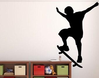 "Skateboarder Wall Decal - 42"" x 27"" Skateboarder Silhouette Vinyl Decal - Skateboarder 2"