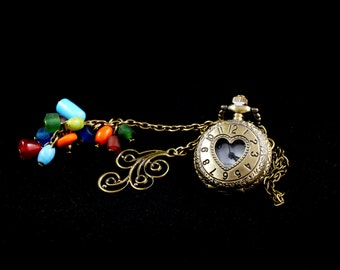 Watch Jack of hearts Necklace: Watch heart lace flapper, charm breath of wind and bronze mutlicolores to string beads