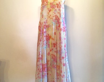 Vintage 70s Pleated Floral Gypsy Dress
