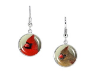 "Red & Green Mismatched Northern Cardinal Bird Photo Dangle Earrings 3/4"" Art Charms Silver Tone"