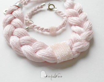 statement bib necklace pink plaited necklace, thread nylon necklace pastel pink braided necklace t-shirt jewelry, gift for her, wedding set