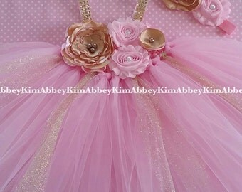 Beautiful baby girl first birthday dress in gold and baby pink 6-18 months