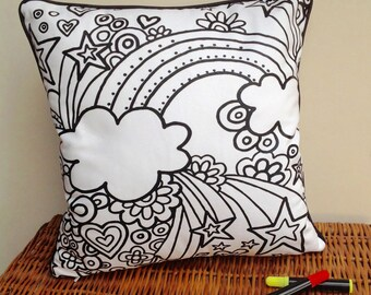 Colour In Cushion Rainbow Design Doodle Art Fabric Permanent Pens Adult Colouring Fun Activity Colourful Design Both Sides Hours Of Fun
