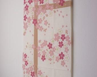 Tenugui Japanese Hand Towel Cat and Sakura Cherry Blossoms Design