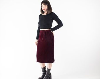 Vintage Velvet Pencil Skirt | High Waist 90s Dark Red Skirt | Soft Grunge Fashion