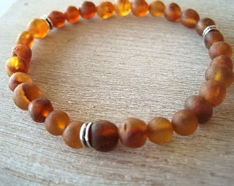 Baltic Raw Amber Bracelet 6-8mm beads, Sterling Silver beads Stretch bracelet