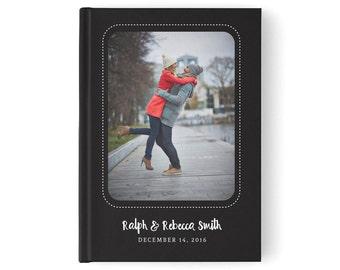 Black Custom Photo Wedding Guestbook, Modern Wedding Guestbook, Custom Wedding Photo Guest Book, Wedding Photo Book,  GB 058