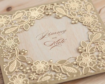 25 x Gold Lace and Wood Wedding Invitation. Laser Cut Paper Cut Wedding Invitation. Rustic Glam Wedding.