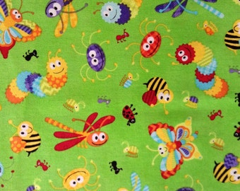 One Half Yard of Fabric Material - Bugs Allover
