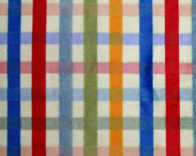Shannon Fabrics - Cuddle/Minky - Plaid in Primary Colors on a Yellow Background Fabric