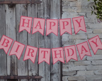 Pink Birthday Banner, Happy Birthday Banner, First Birthday Banner, Pink Banner, Birthday Party Decorations