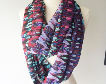Lightweight Chiffon Infinity Scarf - Handmade - For Her, Spring Fashion, Mother's Day, Summer