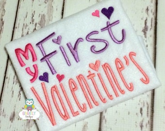 My First Valentines Day Shirt or Bodysuit, First Valentines Day Shirt, Girl First Valentine's Day, Valentine's Day, 1st Valentines