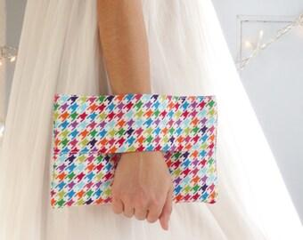 Wrist wallet, multicolors clutch bag, houndstooth print corduroy fabric, christmas gift, handbag, pouch bag, purse, Robert Kaufman fabric