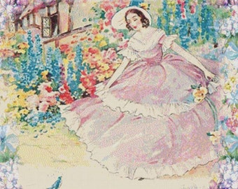 Romantic Lady PDF Cross Stitch Pattern