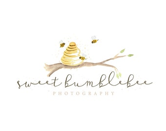 Watercolor Business Logo, watercolor design, photography, watermark, painted, honey, bumble bee - Newborn photography logo, maternity logo