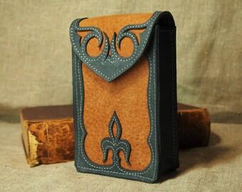 Leather tarot case / tarot pouch / tarot bag / Floral pattern -/- Anima