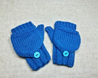 Convertible Fingerless Gloves for babies, blue, teal, wool, mittens with flap, gift for babies