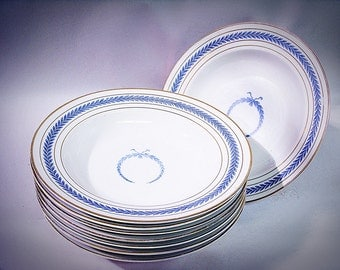 Set of  8 WARWICK China COUPE Soup BOWLS Neo Classical Blue