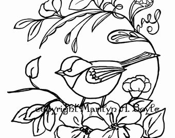 ADULT COLORING PAGE; digital download, chickadee, flowers, apple blossoms, garden,