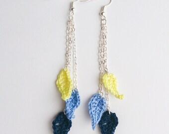 Extra Light Cascade Leaf Crochet Earrings