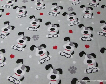 Flannel Fabric - Pups and Hearts - 1 yard - 100% Cotton Flannel