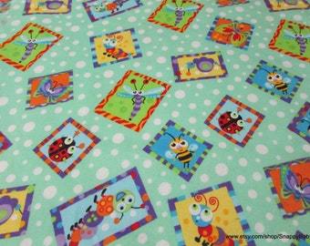 Flannel Fabric - Insects in Frames- 1 yard - 100% Cotton Flannel