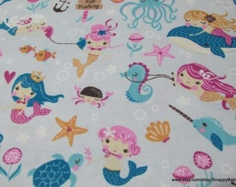 Flannel Fabric - Mermaid Friends - By the Yard - 100% Cotton Flannel
