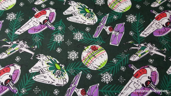 Christmas Flannel Fabric Star Wars Spaceships 1 yard