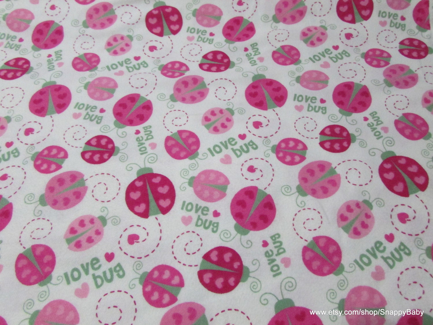 Flannel fabric love bug ladybugs by the yard 100 for Flannel fabric