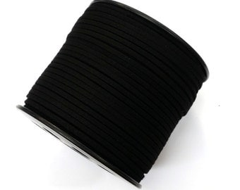100 Yards x 3mm Vegan Faux Suede Cord  - Black