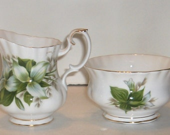 Royal Albert Trillium Cream and Sugar Bone China Made in England  Free Standard Shipping in the U.S.