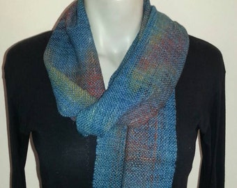 Wool and Silk Hand Spun Hand Woven Scarf